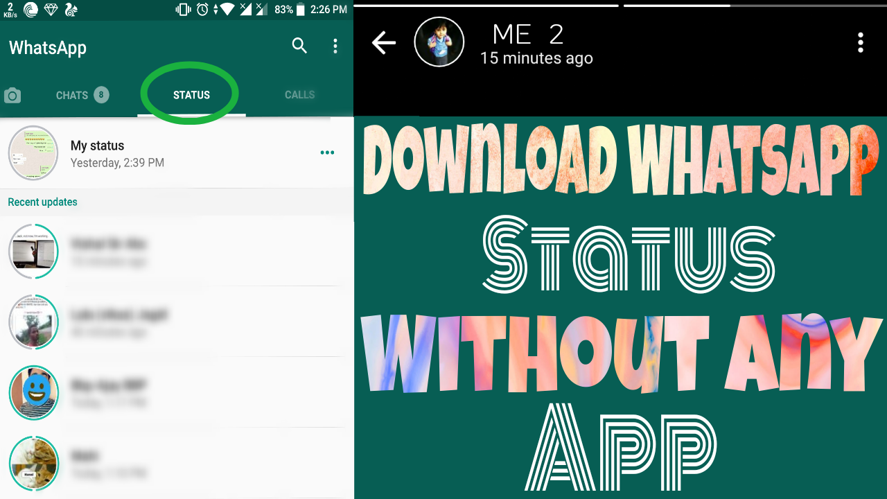 How to Save Anyone Whatsapp Status Without Any App - Gdgtsinfo