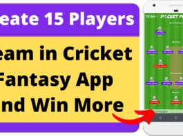 Create 15 Players Team in Cricket Fantasy App Pocket Play